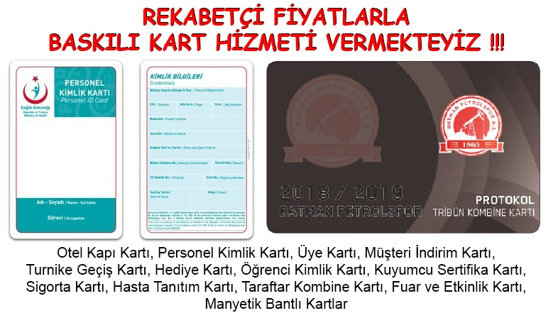 REKABETÇİ FİYATLARLA BASKILI KART HİZMETİ VERMEKTEYİZ !!!